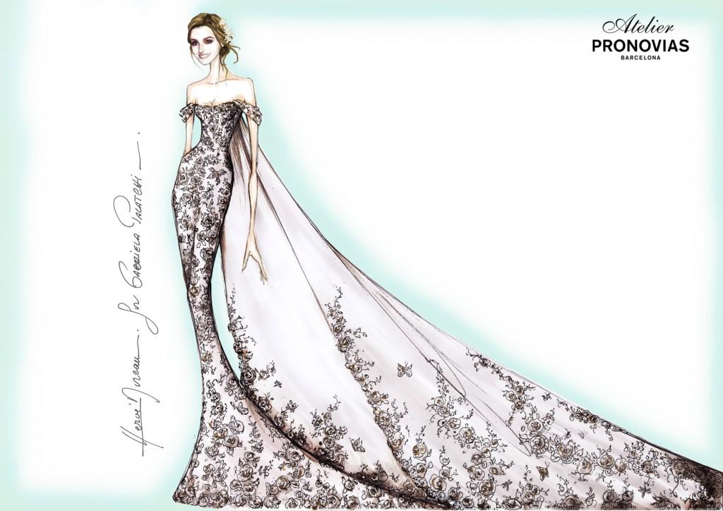 Boceto del vestido diseñado por Hervé Moreau